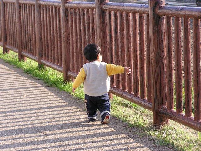 散歩:柵に手をかけてます